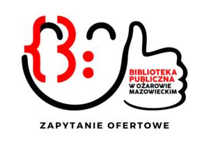 Grafika przedstawia logo biblioteki i napis zapytanie ofertowe